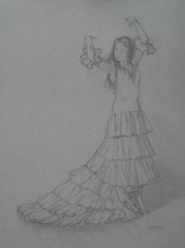 Linda F. Harris, Drawing, Flamenco, charcoal 16x21