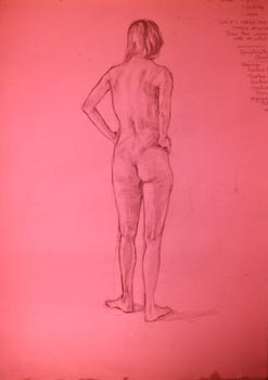 Linda F. Harris, Drawing, Nude - Oil 18x24