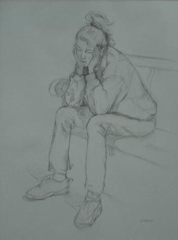 Linda F. Harris, Drawing, Pondering,  charcoal 16x23