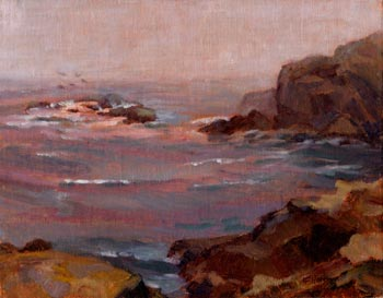 Linda F. Harris - Overcast Morning Point Lobos - Oil, 9x12