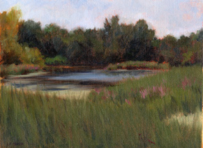 Linda F. Harris - Secluded Pond - Pastel, 9x12