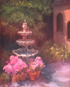 Linda F. Harris - The Fountain - Oil, 11x14