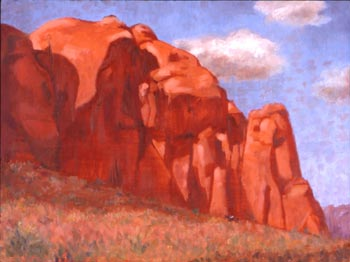 Linda F. Harris - In the Shadow of the Mesa, Oil-9x12