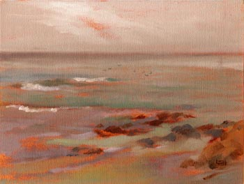 Linda F. Harris, color sketeches, Asilomar, Oil 6x8