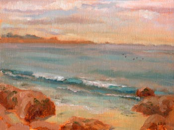 Linda F. Harris, color sketeches,Asilomar Beach, Oil 6x8