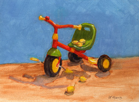 Linda F. Harris, color sketeches,  Lemony Trike, Oil, 6x8