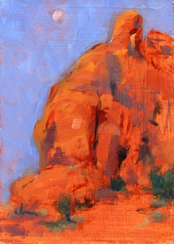 Linda F. Harris, color sketeches,  Morning Moon Over Thunderbird Mesa, Oil, 5x7