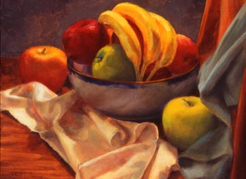 Linda F. Harris - Bananas and Apples, oil, 12x16