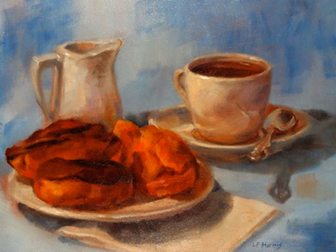 Linda F. Harris - Coffee Break, oil, 9x12