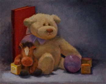 Linda F. Harris - Me and My Bear - oil, 8x10