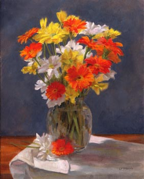 Linda F. Harris - Orange Floral, oil, 11x14