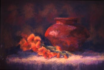 Linda F. Harris - Orange Glads, Pastel 15x20