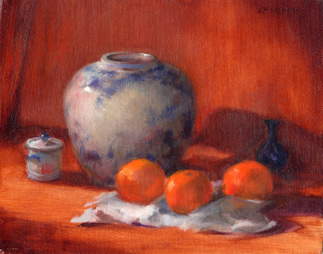 Linda F. Harris - Vases and Oranges, oil, 9x12