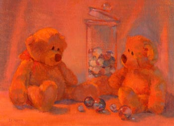 Linda F. Harris - What Bears Do At Night..., oil, 9x12